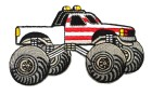 Applikation Patch Auto Cars Monstertruck 10 x 6cm Farbe: Weiss