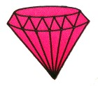 Applikation Patch Diamand 6,8 x 6cm Farbe: Fuchsia