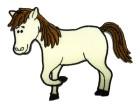 Applikation Sticker Patch Pferd 9,5 x 7,5cm Farbe: Weiss