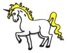 Applikationen Patch Pferd Einhorn 9 x 8,5cm Farbe: Weiss-Gelb