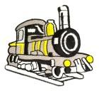 Applikation Patch Lokomotive 7 x 7cm Farbe: Grau-Schwarz-Gelb