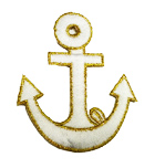 Applikation Patch Nautikabzeichen Anker 5,5 x 6,5cm Farbe: Weiss-Gold