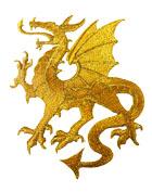 1 Applikation Wappen Drachen 14 x 11,5cm Farbe: Lurex-Gold
