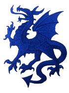 1 Applikation Wappen Drachen 14 x 11,5cm Farbe: Blau