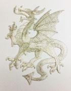 1 Applikation Wappen Drachen 14 x 11,5cm Farbe: Lurex-Silber