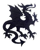 1 Applikation Wappen Drachen 14 x 11,5cm Farbe: Schwarz