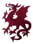 1 Applikation Wappen Drachen 14 x 11,5cm Farbe: Bordeaux