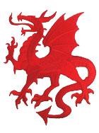 1 Applikation Wappen Drachen 14 x 11,5cm Farbe: Rot