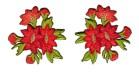 1 Paar Edelweiss-Applikationenen Wiesn Trachten 11,6 x 6cm Farbe: Rot-Orange