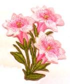 1 Paar Edelweiss-Applikationenen Wiesn Trachten 9 x 5cm Farbe: Rosa