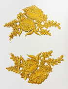 1 Paar Blumen-Applikationen 11,5 x 12cm Farbe: Lurex-Gold