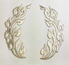 1 Paar Applikationen 11,5 x 10cm Farbe: Lurex-Silber