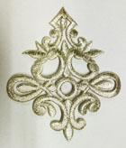 Applikation Tribal Patch Aufnäher 8 x 9cm Farbe: Lurex-Silber