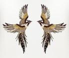 1 Paar Applikationen Patch Vogel Phönix 19 x 15,5cm