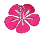 Applikation Patch Sticker Herbst Hibiskusblüte 7 x 5,5cm Farbe: Pink