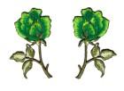 1 Paar Applikationen Rosen  9 x 7,5cm Farbe: Grün-Grün