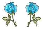 1 Paar Applikationen Rosen  9 x 7,5cm Farbe: Grün-Türkis