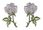1 Paar Applikationen Rosen  9 x 7,5cm Farbe: Grün-Grau