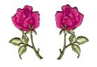 1 Paar Applikationen Rosen  9 x 7,5cm Farbe: Grün-Fuchsia