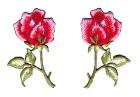 1 Paar Applikationen Rosen  9 x 7,5cm Farbe: Grün-Rot