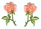 1 Paar Applikationen Rosen  9 x 7,5cm Farbe: Grün-Lachs