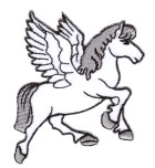 Applikationen Patch Pferd Pegasus 7,5 x 7,5cm Farbe: Weiss-Grau