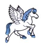 Applikationen Patch Pferd Pegasus 7,5 x 7,5cm Farbe: Weiss-Blau