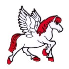 Applikationen Patch Pferd Pegasus 7,5 x 7,5cm Farbe: Weiss-Rot