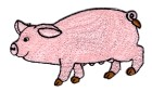 Applikation Patch Bügelbild Schwein 9,5 x 5cm Farbe: Rosa