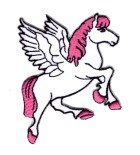 Applikationen Patch Pferd Pegasus 7,5 x 7,5cm Farbe: Weiss-Pink