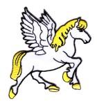 Applikationen Patch Pferd Pegasus 7,5 x 7,5cm Farbe: Weiss-Gelb