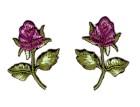 1 Paar Applikationen Rosen  6 x 4cm Farbe: Grün-Brombeer