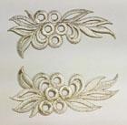 1 Paar Applikationen 12,5 x 6cm Farbe: Lurex-Silber