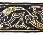 1m Mittelalter Borte Webband 100mm breit Farbe: Dunkelblau-Gold