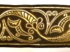 1m Mittelalter Borte Webband 100mm breit Farbe: Mittelbraun-Gold