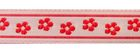 10m Webband Borte Applikation 11mm breit Blumen Farbe: Rot