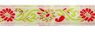 10m Webband Borte Applikation Blumen 11mm breit Farbe: Rot-Weiss-Grün-Lurexgold