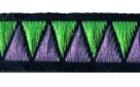 10m Retro-Borte Webband 12mm Farbe: Grün-Violett-Schwarz