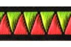 10m Retro-Borte Webband 12mm Farbe: Neongrün-Neonpink-Schwarz