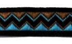 10m Retro-Borte Webband 12mm Farbe: Blau-Braun-Schwarz