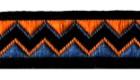 10m Retro-Borte Webband 12mm Farbe: Blau-Orange-Schwarz