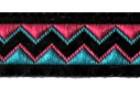 10m Retro-Borte Webband 12mm Farbe: Türkis-Pink-Schwarz