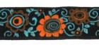 10m Webband Borte Blumen 15mm breit Farbe: Türkis-Orange-Braun