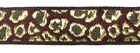 10m Borte Webband Muster Leopard 16mm breit Farbe: Bordeaux-Gold