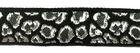 10m Borte Webband Muster Leopard 16mm breit Farbe: Schwarz-Silber