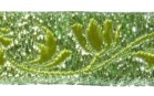 10m Jacquard Borte Stoff 16mm breit Lurex-Neongrün