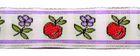 10m Blumen Borte Webband Wiesn 16mm breit Farbe: Beige-Lila
