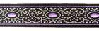 10m Brokat Borte Webband 16mm Farbe: Schwarz-Lila-Lurexsilber