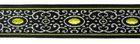 10m Brokat Borte Webband 16mm Farbe: Schwarz-Olive-Lurexsilber