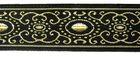 10m Brokat Borte Webband 22mm breit Farbe: Schwarz-Lurexgold